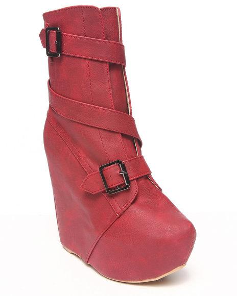 Fashion Lab - Women Red Jessica Wedge Bootie W/ Buckles