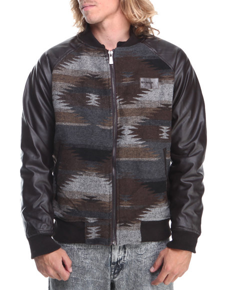 Rocawear - Men Brown Varsity Wool Jacket