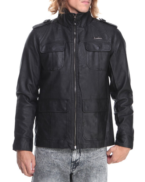 English Laundry Black Faux Leather Garment Washed Jacket