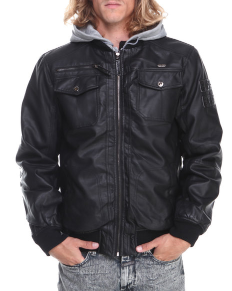 Rocawear - Men Black Hooded Pu Leather Jacket
