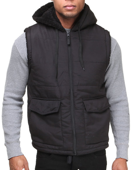 Basic Essentials - Men Black Napa Lined Vest