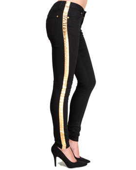 Basic Essentials - Gold Tuxedo Detail Skinny Jean Pant