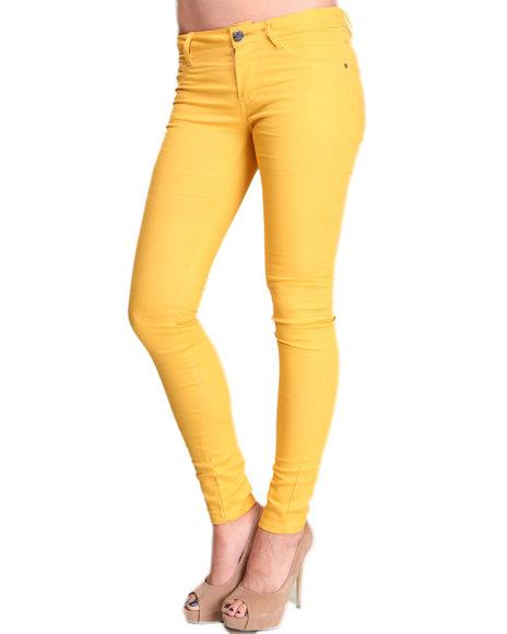 Basic Essentials - Women Yellow Gold Rush Skinny Jean Pants