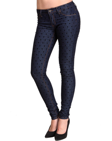 Basic Essentials - Women Indigo Classic Dot Denim W/Dot Flocking