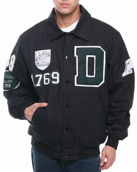Buyers Picks - Men Black Classic Alumni Padded Canvas Ivy League Varsity Jacket