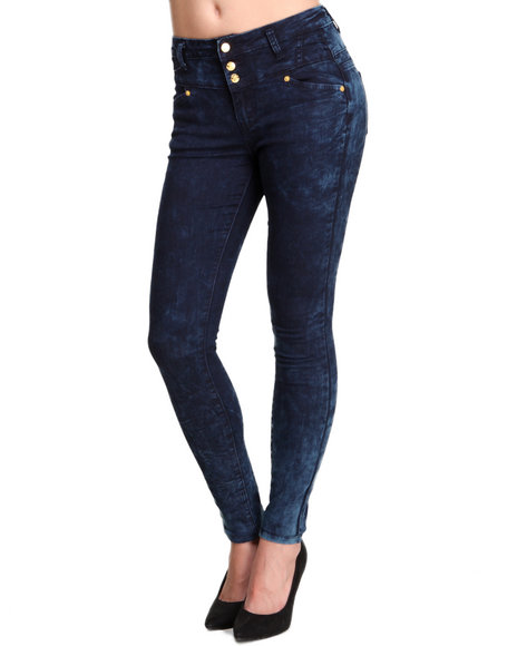 Basic Essentials - Women Blue Three Button High Waist Skinny Jean