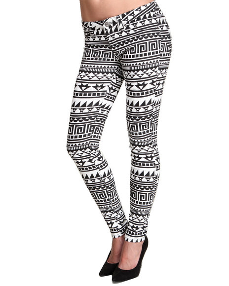 Basic Essentials - Women Black Geo Print Skinny Jean Pant