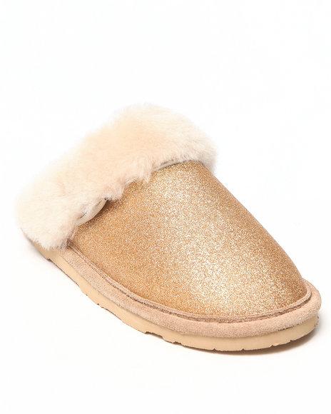 Bearpaw Gold Laney Glitter Upper Sheepskin Lined Slipper
