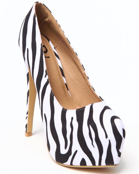 Fashion Lab - Women Animal Print,White Allison Platform Pump W/ Wrap Heel