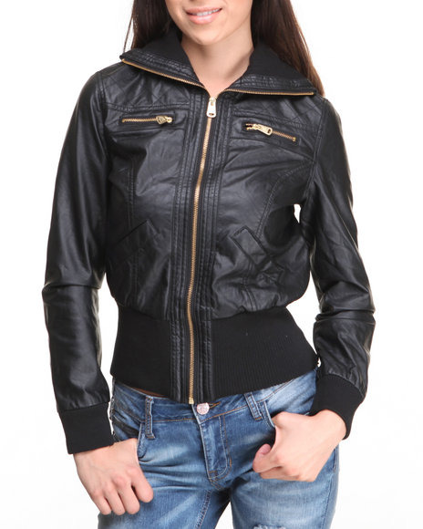 Rampage - Women Black Distressed Vegan Leather Jacket