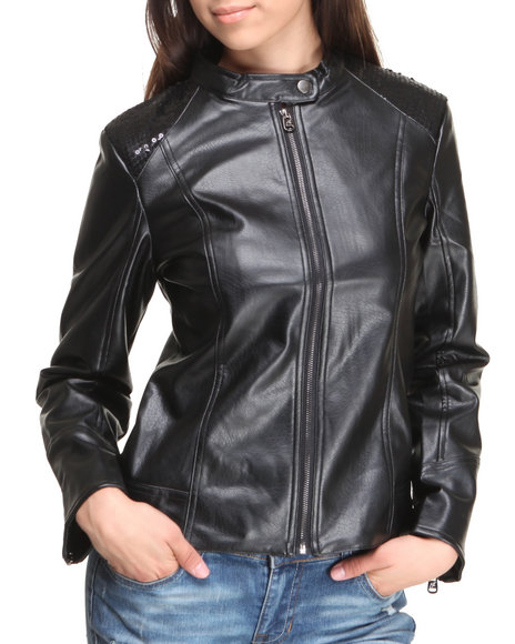 Rampage - Women Black Vegan Leather Sequin Shoulder Moto Jacket