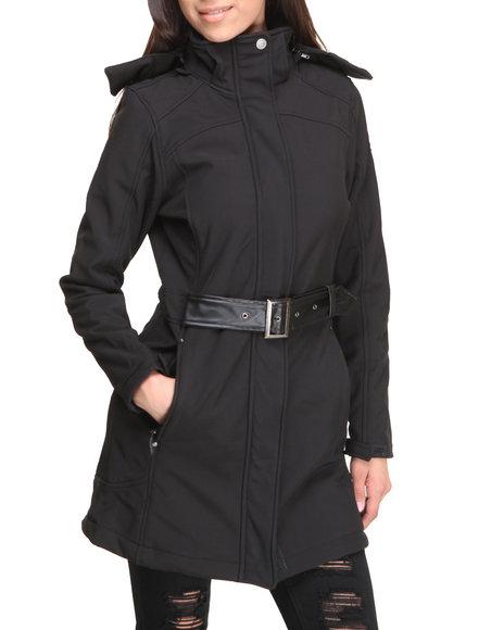 CB Black Fashion Softshell Lined Jacket W/Belt