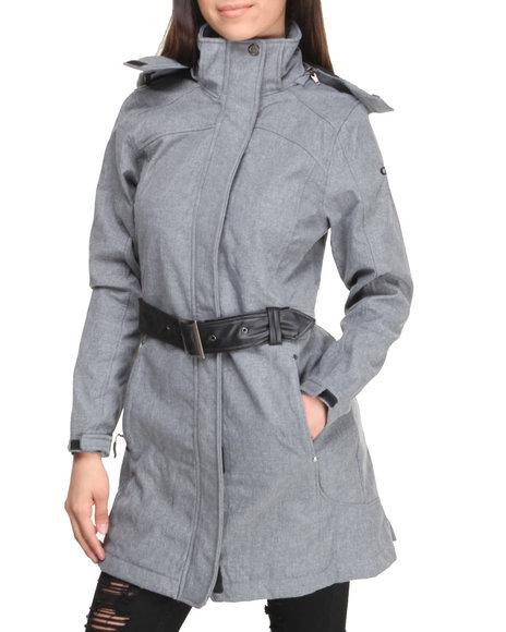 CB Grey Fashion Softshell Lined Jacket W/Belt