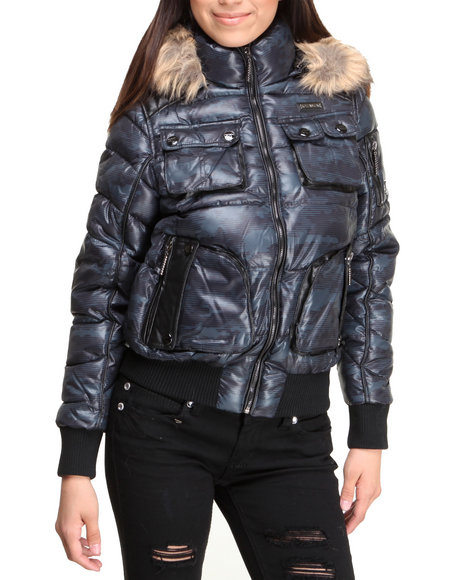 Rocawear Black Trendy Short Puffer Bubble Camo Coat