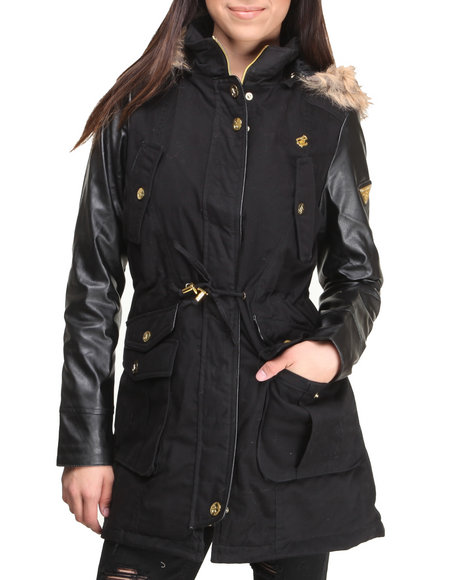 Rocawear - Women Black Twill Cinched Waist Vegan Leather Sleeves Tail Parka