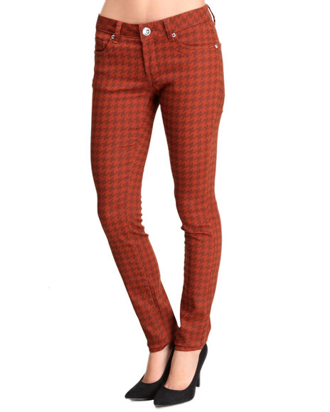 Basic Essentials - Women Brown Houndstooth Printed Skinny Jean Pants