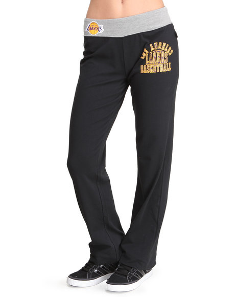 Nba Mlb Nfl Gear - Women Black Lakers Overtime Sweatpants