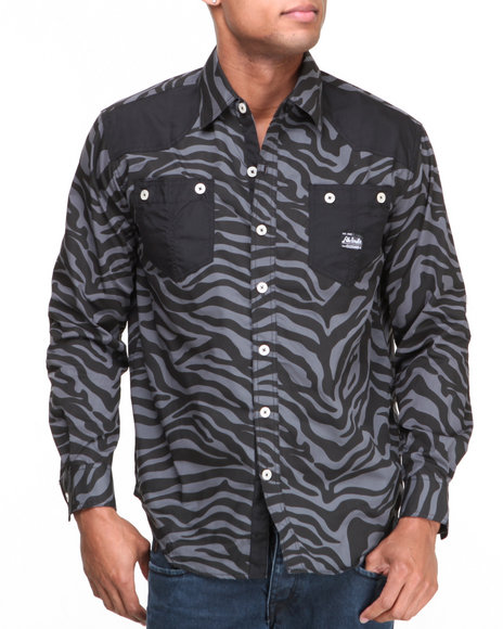 Akademiks Black Predator Zebra L/S Button-Down Shirt