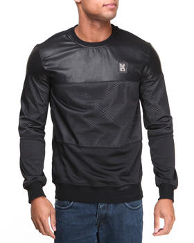 Forte' - Faux Leather Mesh Crewneck Sweatshirt