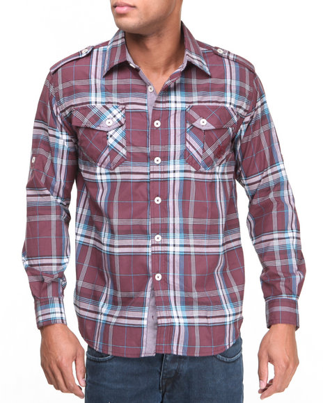 Akademiks Maroon Brooks L/S Plaid Button Down Shirt