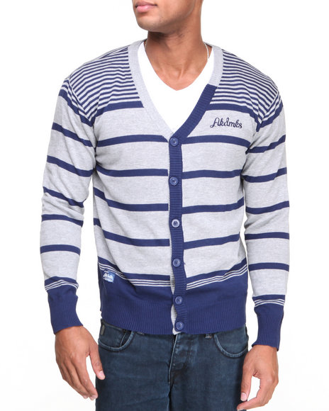Akademiks Blue Finn Stripe Cardigan Sweater