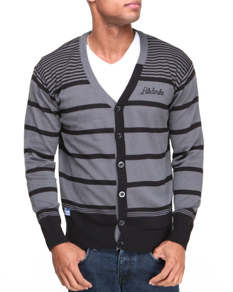 Akademiks Charcoal Finn Stripe Cardigan Sweater