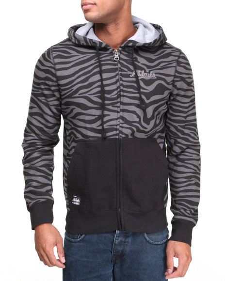 Akademiks - Men Black Apax All Over Zebra Print Fleece Hoodie