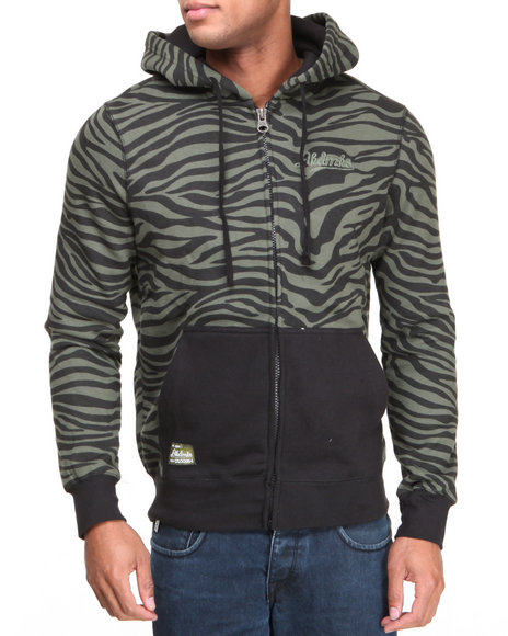 Akademiks - Men Olive Apax All Over Zebra Print Fleece Hoodie