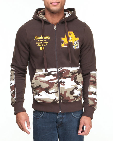Akademiks - Men Brown Incog Chenille Full Zip Fleece Hoodie