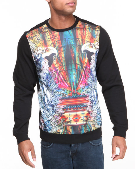 Akademiks - Men Black Warrior Crewneck Sublimation Sweatshirt - $22.99