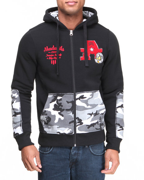 Akademiks - Men Black Incog Chenille Full Zip Fleece Hoodie