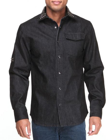 Pelle Pelle by Marc Buchanan Black Mb Studded Collar L/S Button Down Shirt
