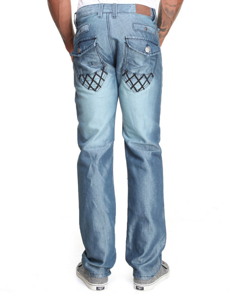 Basic Essentials - Men Medium Wash Sheen Flapback Denim Jeans