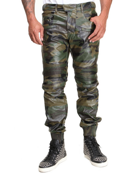 Forte' - Men Camo Faux Leather Motorcycle Pants