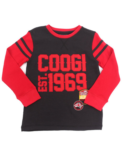COOGI Boys Black L/S Thermal Varsity Top (8-20)