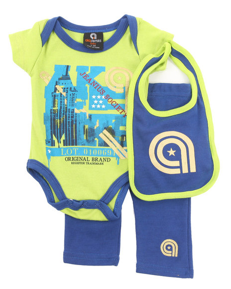 Akademiks - Boys Blue 3 Pc Set - Bodysuit, Pants, & Bib (Newborn) - $8.99