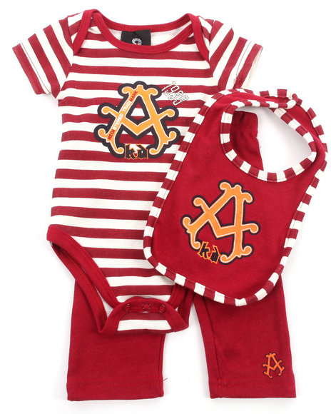 Akademiks - Boys Red 3 Pc Set - Bodysuit, Pants, & Bib (Newborn)