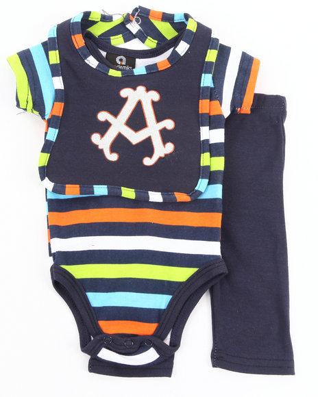 Akademiks - Boys Navy 3 Pc Set - Bodysuit, Pants, & Bib (Newborn)