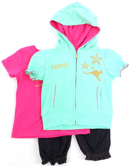 COOGI Girls Green 3 Pc Set Hoody, Tee, & Pants (2T-4T)