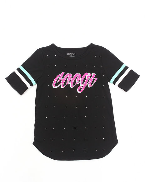 COOGI - Girls Black Studded Coogi Tee (7-16)