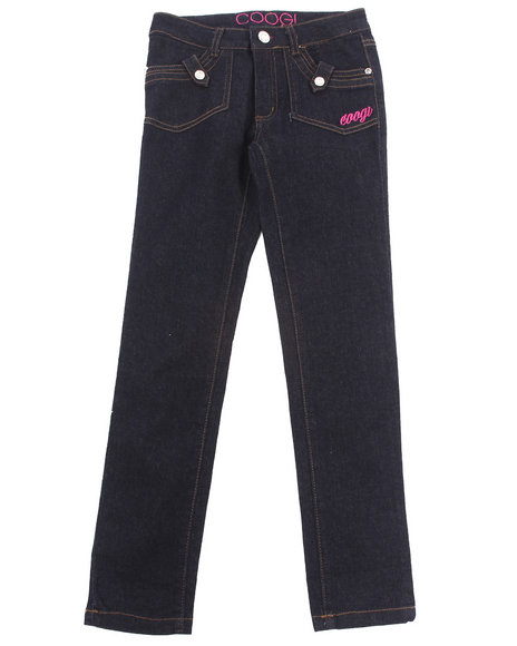 COOGI - Girls Dark Wash Embroidered Pocket Jeans (7-16)