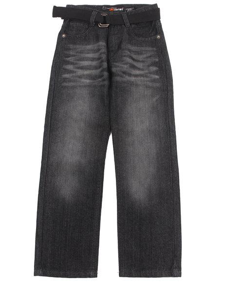 Akademiks - Boys Black Belted Rolodex Jeans (8-20)