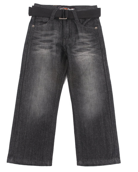 Akademiks - Boys Black Belted Rolodex Jeans (4-7) - $13.99