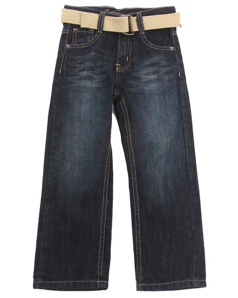 Akademiks - Boys Vintage Wash Belted Rolodex Jeans (4-7)