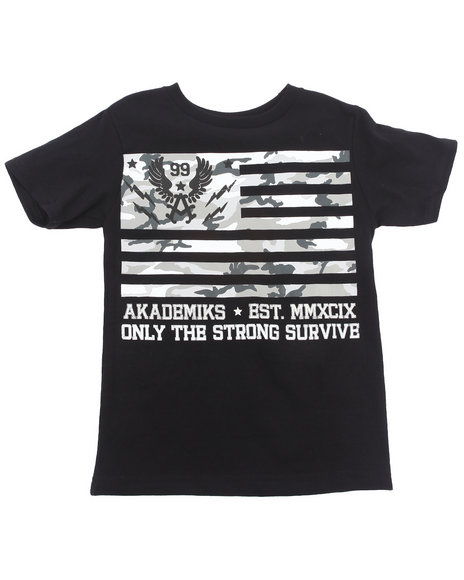 Akademiks - Boys Black Camo Flag Tee (4-7)