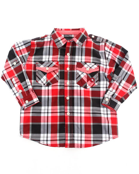 Akademiks Boys Red Roll Up Sleeve Plaid Woven (4-7)