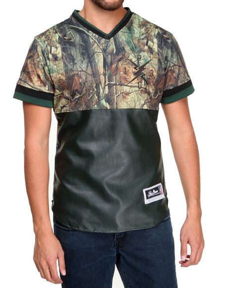 Post Game - Men Camo Camo Color Block Baseball Jersey