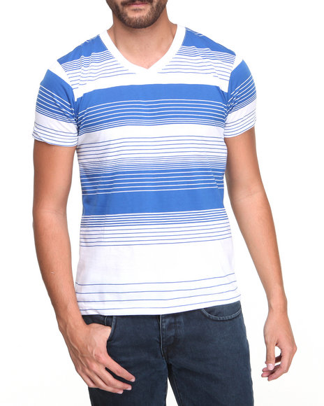 Basic Essentials - Men Blue Engineered Stripe Short Sleeve Tee