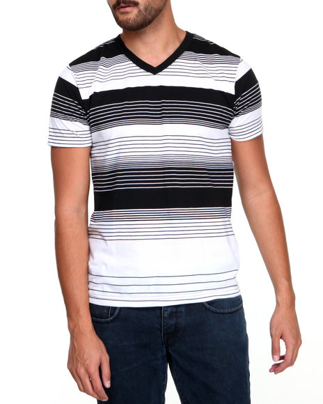 Buyers Picks - Men Black Engineered Stripe Short Sleeve Tee