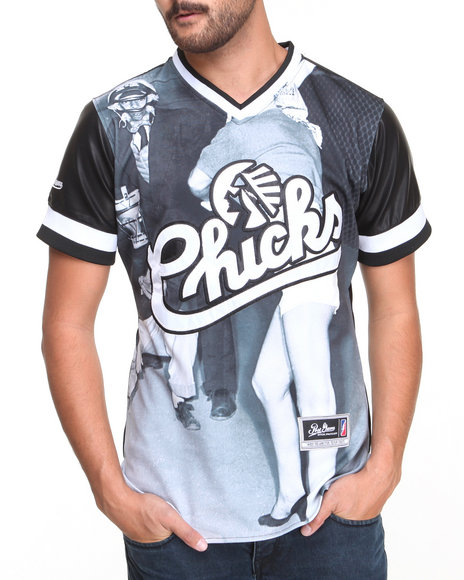 Post Game - Men Black Chicks Faux Leather Embroidered Baseball Jersey